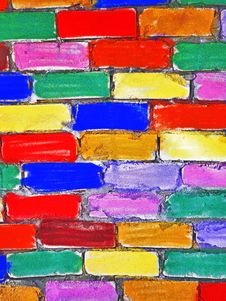 Free Brick Wall Painted Children Stock Photography - 20014952