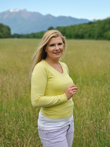 Beautiful Natural Woman Outdoors On A Field Stock Photography