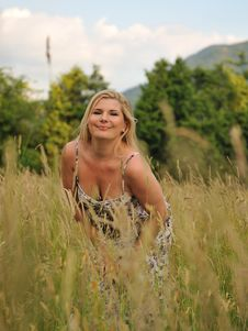 Pretty Summer Woman On Field Stock Images