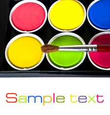 Free Box Of Watercolors And Paintbrush Stock Photo - 20015510