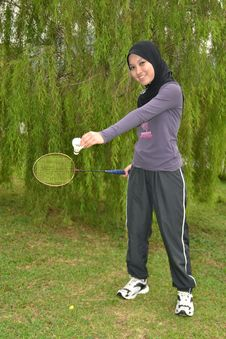 Free Young Woman With Badminton Racket Royalty Free Stock Photos - 20015518