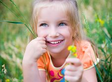 Free Cute Little Girl  On The Meadow Royalty Free Stock Photos - 20015528