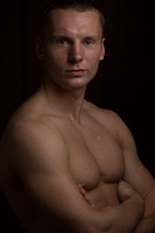Free Muscular Man On Black, Isolated Stock Photos - 20017963