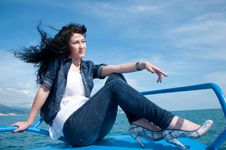 Free A  Young Woman On A Yacht At Sea Stock Photography - 20018062