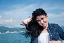 Free A  Young Woman On A Yacht At Sea Royalty Free Stock Image - 20018096