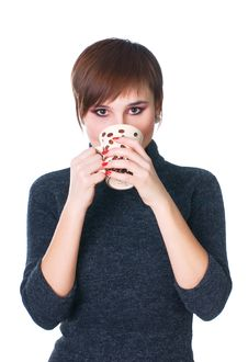 Woman Have A Cofee Stock Photos