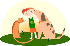 Free Best Friends, Boy With A Dog And Cat Royalty Free Stock Photo - 20018335