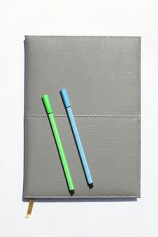 Free Gray Notebook And Pen Stock Images - 20019584