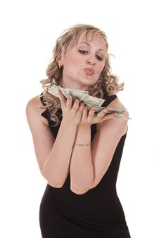 Woman With Cash Stock Images