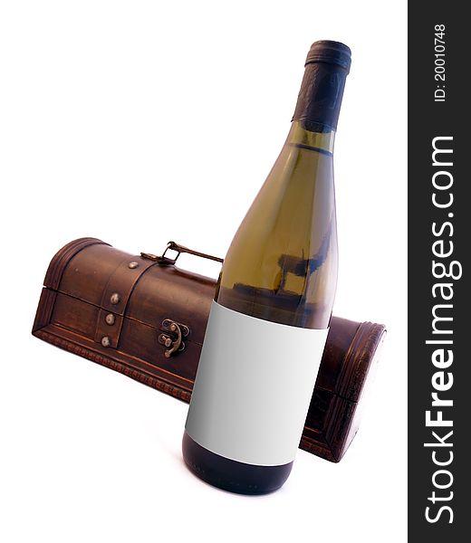 Wood box with wine bottle