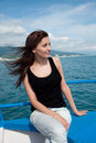Free Young Woman On A Yacht At Sea Royalty Free Stock Image - 20020586