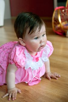 Free Baby In Pink Dress Stock Image - 20020881