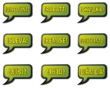 Free Multilingual Discount Vector Bubbles Stock Images - 20022574