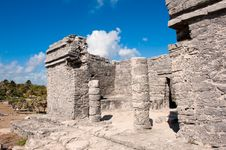 Tulum Maya Ruins Yucatan Peninsula,  Mexico. Royalty Free Stock Photo