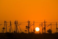 Free Sunrise In Electrical Poles Stock Image - 20025601