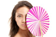 Beautiful Asian Girl With Fan Stock Photography