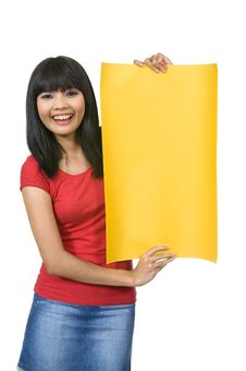 Free Woman Hold Yellow Banner Royalty Free Stock Photography - 20026817