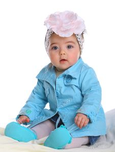 Free Small Baby Wearing Blue Coat Stock Photography - 20027602