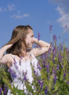 Girl Walking In A Meadow Stock Image