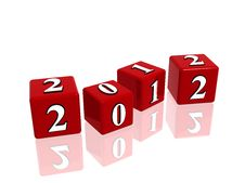 Free Red Cubes 2012 Stock Image - 20029071