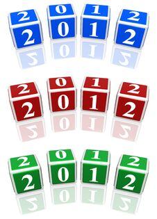 Free 2012 Cubes In Blue, Red And Green Stock Image - 20029081