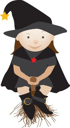 Free Friendly Witch On A Broom Royalty Free Stock Photos - 20029168