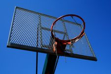 Free Basketball Basket Zoomed Foto On Blue Sky Royalty Free Stock Photography - 20029397
