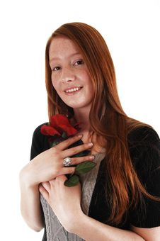 Free Girl With Red Rose. Royalty Free Stock Image - 20029846