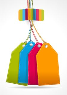 Plain Colorfull Tags With Rainbow Sticker Royalty Free Stock Image