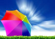 Free Rainbow Umbrella And Blue Sky Stock Photo - 20030090