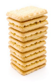 Free Tower Of Cream Filled Biscuits Over White Stock Photo - 20030330