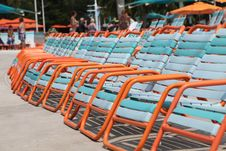 Free Resort Sun Lounger Chairs In Tropical Sunshine Royalty Free Stock Photography - 20030337