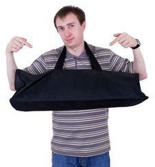 Free The Young Man With Big Black Bag Stock Images - 20031784