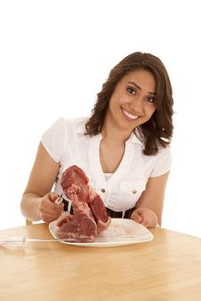 Free Big Steak Happy Royalty Free Stock Photography - 20032707