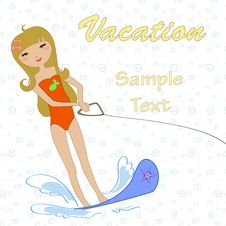 Free Attractive Girl Water Skiing Royalty Free Stock Images - 20032759