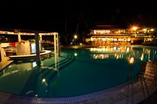 Free Resort Swimming Pool At Night Royalty Free Stock Photography - 20032767