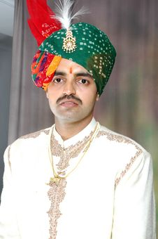 Free Indian Guy (Groom) In His Wedding Dress Royalty Free Stock Photos - 20032788