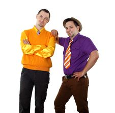 Free Two Young Man In Bright Colour Wear Royalty Free Stock Image - 20033526