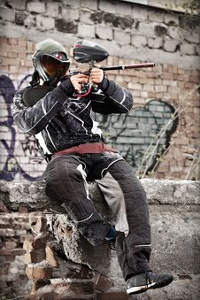 Free Paintball Player Royalty Free Stock Image - 20033606