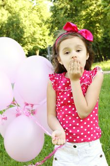 Free Little Girl In The Park With Pink Balloons Stock Photo - 20033800