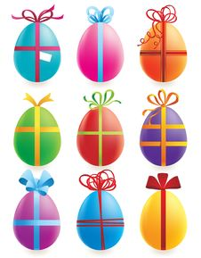 Set Of 9 Easter Eggs Stock Photo