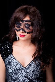 Free Attractive Brunette Woman With Lacy Mask Royalty Free Stock Image - 20033986