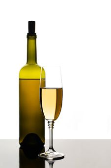 Free Bottle And Glass Of White Wine Stock Images - 20036674