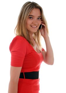 Free Smiling Business Woman Talking On The Phone Stock Image - 20037931