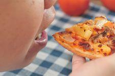 Eating Italian Pizza Royalty Free Stock Photos