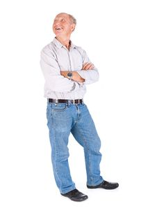 Free Aged Grandpa Posing In Casuals Royalty Free Stock Image - 20039346