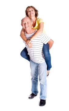Free Senior Man Giving Woman Piggyback Ride Royalty Free Stock Image - 20039386