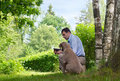 Free Man And Dog Outdoors Royalty Free Stock Photos - 20049508