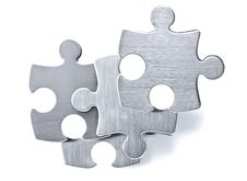 Free Stainless Steel Puzzle Pieces On White Background Stock Photo - 20041720