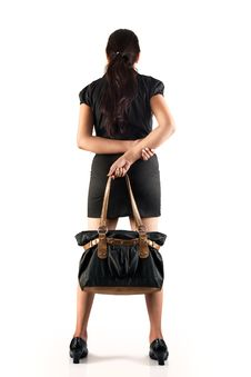 Free Young Woman With Black Bag Royalty Free Stock Images - 20042809